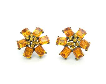 Golden Topaz Rhinestone Earrings. Flower Clusters. Emerald Cut Petals. Clip Ons. Vintage 1960's Fashion Jewelry