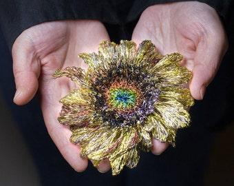 Sunflower brooch, gold flower brooch, metal flower sculpture art, modern boho, sunflower wedding jewelry, anniversary wife gift, Christmas