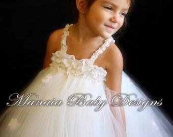 Ivory Flower Girl Dress / Ivory Dress / White Flower Girl Dress/ White Tutu Dress