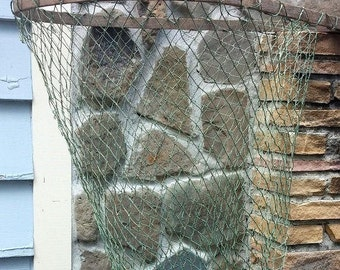 "Vintage Fishing Nautical Landing Net Long Wooden Handle 65"""" Primitive Beach Lake Oceanside Decor"