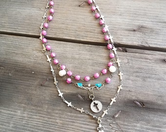 Cross Necklace Rhinestone Pink Necklace Double Strand Pearl Turquoise Necklace Paris Flea Market Rosary Style