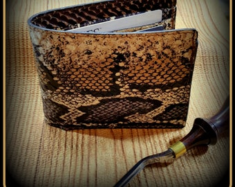 Python snake, Reptile, Leather Wallet,Billfold,bifold,credit cards,mens gift,3rd anniversary,Handmade Wallet,Slim wallet,mans birthday