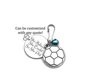 Girls Soccer Gifts, Soccer Gifts, Soccer Zipper Pull, Soccer Player Gift, Soccer Bag Tag, Soccer Team Gift, Girls Soccer Bag Gift