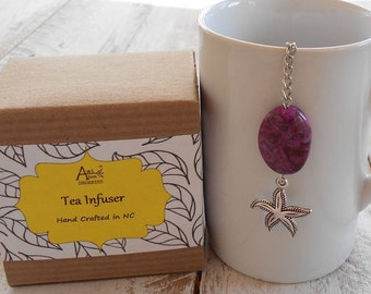 Starfish Tea Infuser, Purple Lace Agate, Beachy, Coastal, Ocean, Safe Travel Charm, Beach Lover Gift, Nautical Gift, Under 10 Dollars