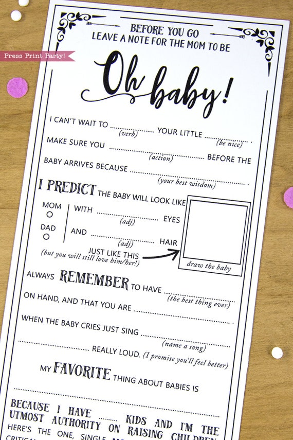 Oh Baby Shower Games Printable, Baby Shower MadLibs Advice Card ...