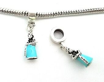1 Bead -  Drink Me Alice Wonderland Blue Enamel Silver European Bead Charm E1594