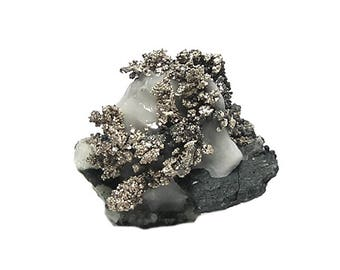 Native Silver, Natural Silver with Acanthite in Calcite Mineral Specimen, Precious Metal Geo Gemstone  mined in Morocco, Fine Example