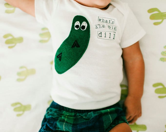 """Swanky Shank Gender Neutral """"What's The Big Dill"""" Bodysuit or Tee"""