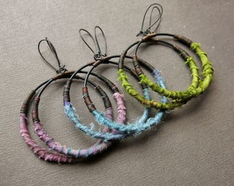 Large Hoop Earrings - Upcycled Fabric Earrings - Tribal Hoop Earrings - Silk Earrings - Big Hoop Earrings- Bohemian Earrings- Fabric Jewelry