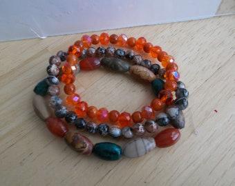 3 Stretch Bangle Bracelets made with Jasper Stone Beads, Orangl Crystal Beads and Glass Beads