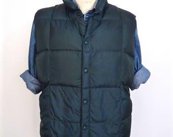 Lands' End Goose Down Vest / quilted forest green hunter green nylon down feather ski vest jacket / men's large