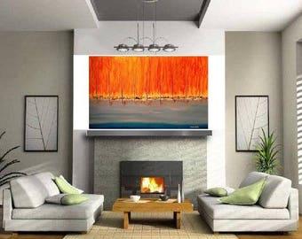 "ORiGiNAL 48 x 24 Landscape ABSTRACT  -""Orange Horizon""  original Acrylic Paint on canvas   -   48"" X 24""   (# 17-5250)"