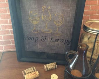 Group Therapy Wine Cork Keeper -Wine Cork Shadow Box, Wine Gifts, Wine Cork Holder, Wine Decor, Wine Cork Art, Gift For Her