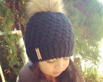 Black Fur Pom Hat- available in sizes toddler, child and teen/adult- MTO