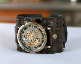 """Leather Watch,birthday gift,Steampunk Watch,Band """"Target-2"""",Gift for Men,Gift for Her,Wrist Watch,Watches"""