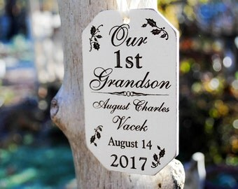 Gifts for New Grandparents of a Boy - First Grandchild Ornament - Grandson First Christmas Ornament - Grandson Ornament - Grandma Ornaments