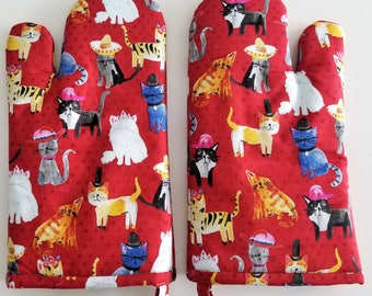 Kitchen Oven Mitt, Cats With Hats, Cat, Kitten, Red Oven Mitts, Chef, Cook, Baker, Bake