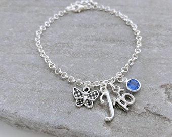 16th Birthstone Necklace or 16th Birthstone Bracelet, 16th Gift, 16th Birthday Necklace, Initial Charm Necklace, Personalised Necklace