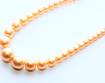 Long Graduated Faux Pearls Vintage Necklace with Rhinestone Clasp (c1960s)