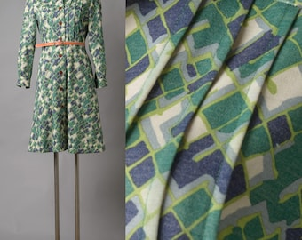 60s Dress, Vintage Dress, vintage green dress, Vintage shirt dress, Vintage knit dress, Vintage green blue dress, Mad Men dress - S/M