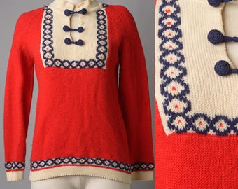Vintage Sweater, Vintage Red Sweater, Red blue sweater, Vintage pull over, Vintage Knit Sweater, Nautical Sweater - S/M