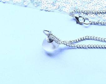 Sea Glass Necklace Opaque Boho Silver Pendant