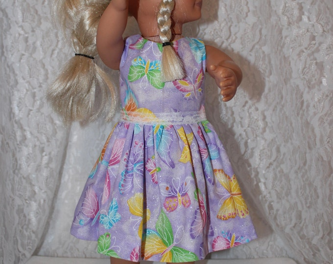 "Back to School, 18"" doll clothes to Fit like American Girl, Bright Sparkly Butterfly Purple Dress with Lace,Sparkly Shoes, FREE SHIPPING"