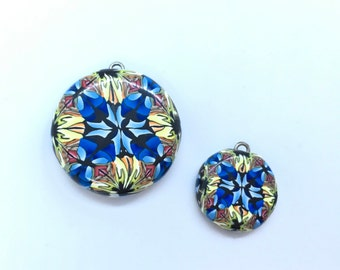 Polymer Clay Handmade 2 Pendant Bead Set Kaleidoscope Looking Vibrant Colors Jewelry Making Supplies OOAK