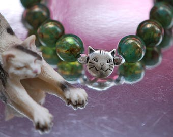 Br-30 - Bracelet stretch-bracelet cat-bracelet round murky green glass beads