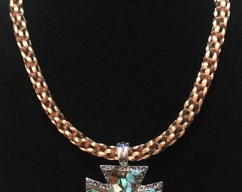 Kumihimo Braided Tan Brown Necklace with Natural Stone Encrusted Cross Pendant Silvertone