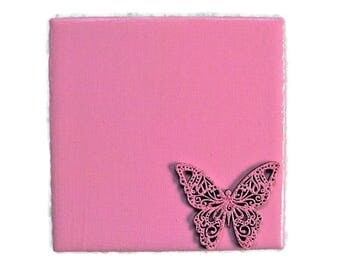 Breast Cancer Gift, Valentine's Day Gift, Wedding Shower Favors, Baby Shower Favors, Pink Butterfly Coaster, Butterfly Gift, Pink Decor