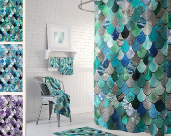 Mermaid Shower Curtains - Printed Shower Curtains - Mermaid Scales - Size: 71in x 74in