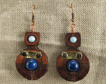 "489 Steampunk ""69"" Statement Earrings Burning Man Recycled Jewelry"