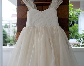 Flower Girl Dresses Wedding Lace Dress Ivory