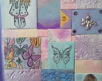 A5 Polymer clay mosaic tile journal, polymer clay book cover, blue, pink, purple, clay notebook, handmade clay tile notebook, keepsake