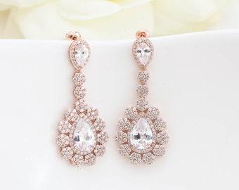 Rose Gold Bridal Earrings, Rose Gold Wedding Jewelry, Bridesmaid Earrings, Bridal Jewelry, Chandelier Earrings, Teardrop Wedding Earrings