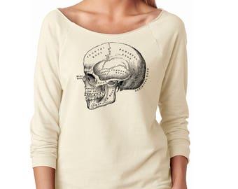 Slouchy Sweatshirt, Anatomical Skull Sweater, Anatomy, Horror, Medical Illustration, Lightweight 3/4 Sleeve Raw Edge Raglan Ringspun Cotton