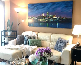 "Omaha Cityscape"" Gicleé prints on canvas available in 3 sizes.  (Original Sold)"