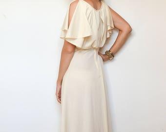 70s Goddess Grecian Disco Cream Maxi Dress, Alternative Simple Boho Hippie Wedding Gown