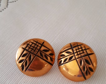 Vintage Copper Domed Clip On Earrings - Button Earrings - Retro Copper Earrings -Vintage Earrings - Mid Century Earrings - Costume Earrings