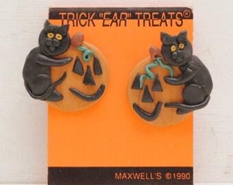 Vintage 90s Halloween Pumpkin Cat Earrings Maxwells 1990 Creepy Cool Kitten Face; FREE SHIPPING U.S.A.