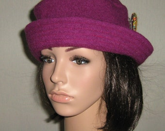 Hat toque Cordeline purple boiled wool