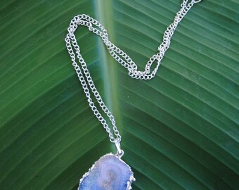 Ocean Blue Cosmic Agate Slice Stone Necklace on Short Silver Chain