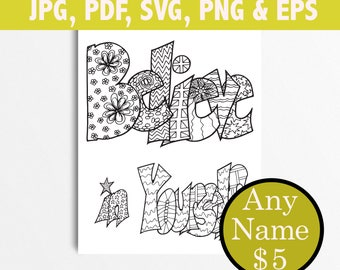 BELIEVE IN YOURSELF Printable Coloring Pages Adult Introvert Gift