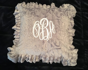 Accessorize Your Home With a Ruffled Pillow, Accent Pillow, Monogrammed Pillow, Personalized Pillow