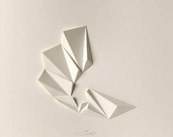Origami 3D Wall Hanging - Abstract Mini Wall Sculpture Decor Object-Concrete Art White-Paper Relief-Triangle Modern-by Kubo Novak-Pleat3