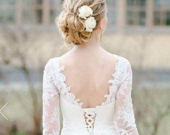 Ivory hair flower Rose Bridal hair flower Wedding hair flower Bridal hair clip Rose hair clip Bridal flower hair Bridal hair accessories