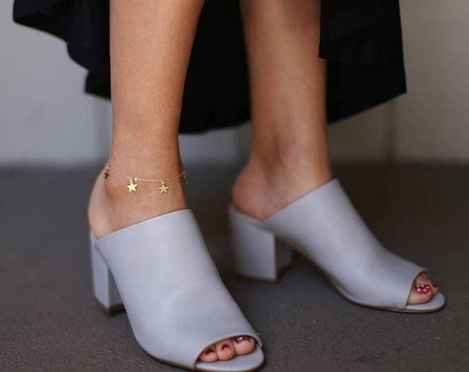 Dangle Star Anklet // Ankle Bracelet // Thin Simple Anklet // Summer Beach Anklet