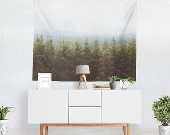 Wall tapestry, forest wall hanging, mountain home decor, nature wall art
