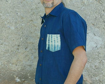 Pharaoh* Indigo natural dyed eco friendly handloom cotton slow fashion sustainable shirt for conscious  men.